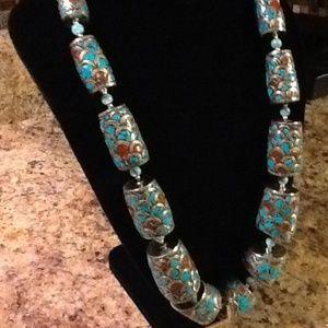 Jewelry - TIBETAN TURQUOISE CORAL BLOCKS NECKLACE